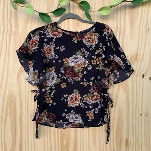Navy Floral Ruffle Sleeve Side Tie Blouse.
